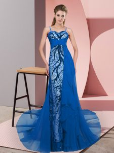 Blue Zipper Spaghetti Straps Beading and Lace Evening Dress Tulle Sleeveless Sweep Train