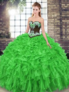 Sleeveless Organza Sweep Train Lace Up Sweet 16 Dress for Military Ball and Sweet 16 and Quinceanera