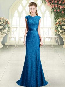 Glamorous Beading and Lace Blue Backless Cap Sleeves Sweep Train