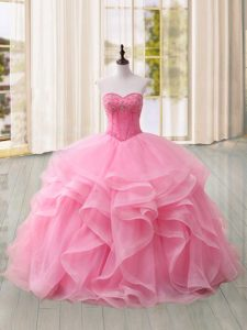 Sleeveless Sweep Train Lace Up Beading and Ruffles Sweet 16 Dress