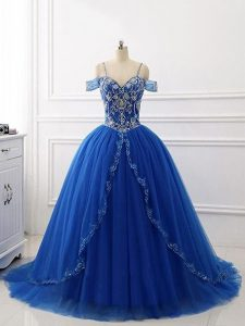 Pretty Ball Gowns Sleeveless Royal Blue Quinceanera Dress Brush Train Lace Up