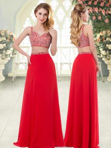 Custom Designed Floor Length Zipper Juniors Evening Dress Red for Prom and Party with Beading