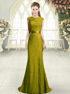 Gold Scoop Neckline Beading and Lace Prom Gown Cap Sleeves Backless