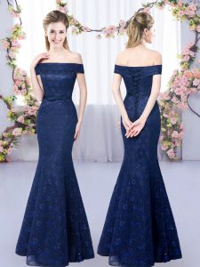 Off The Shoulder Sleeveless Lace Up Lace Bridesmaid Gown in Navy Blue