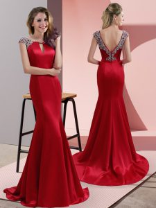 Red Cap Sleeves Beading Backless Evening Outfits