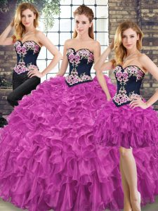 New Style Fuchsia Sweetheart Lace Up Embroidery and Ruffles Quinceanera Gowns Sleeveless