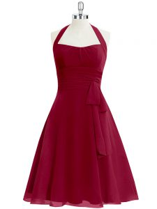 Ideal Wine Red A-line Chiffon Halter Top Sleeveless Ruching Knee Length Zipper Prom Party Dress