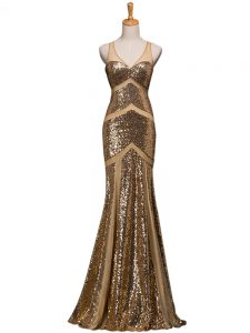 Fashionable Brown Mermaid Sequined V-neck Sleeveless Ruching Backless Womens Evening Dresses Sweep Train