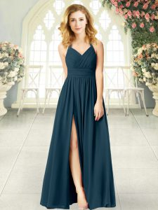 Adorable Teal Empire Halter Top Sleeveless Chiffon Floor Length Zipper Ruching Evening Dress
