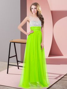 Chiffon Sleeveless Floor Length Prom Gown and Sequins