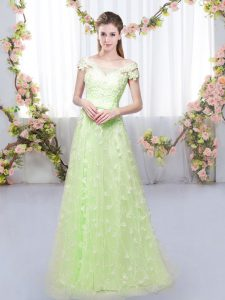 Yellow Green Cap Sleeves Floor Length Appliques Lace Up Dama Dress for Quinceanera