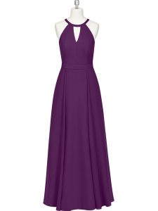 Fine Floor Length Zipper Prom Gown Eggplant Purple for Prom and Party with Ruching