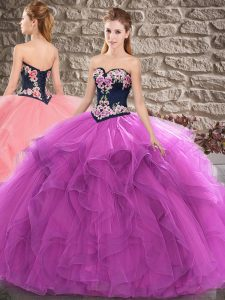 Beautiful Sleeveless Tulle Floor Length Lace Up 15 Quinceanera Dress in Purple with Beading and Embroidery