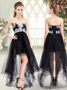 Black Tulle Lace Up Sweetheart Sleeveless High Low Appliques