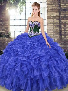 New Style Royal Blue Sweet 16 Dress Sweetheart Sleeveless Sweep Train Lace Up