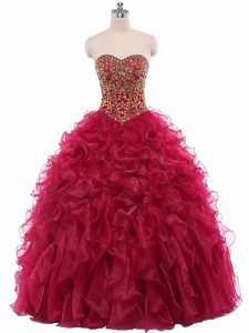 Fantastic Wine Red Sweetheart Neckline Beading and Ruffles Sweet 16 Dresses Sleeveless Lace Up