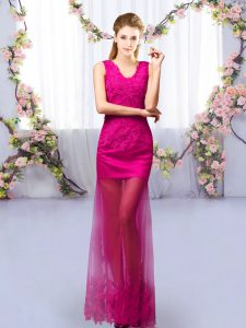 Floor Length Fuchsia Wedding Party Dress Tulle Sleeveless Lace