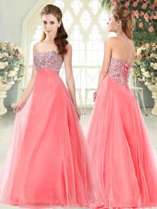 Watermelon Red Sleeveless Tulle Lace Up Prom Gown for Prom and Party