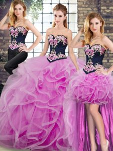 Sweep Train Ball Gowns Quince Ball Gowns Lilac Sweetheart Tulle Sleeveless Lace Up