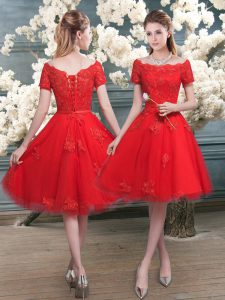 Low Price Red A-line Tulle Off The Shoulder Short Sleeves Lace Knee Length Lace Up Prom Gown