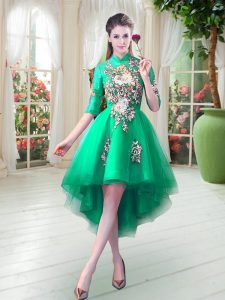 Half Sleeves Tulle High Low Zipper Homecoming Dress in Turquoise with Appliques