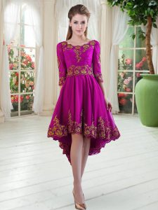 Tulle Scoop Long Sleeves Lace Up Embroidery Prom Party Dress in Purple