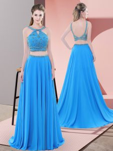 Flare Blue Prom and Party with Beading Straps Sleeveless Sweep Train Backless