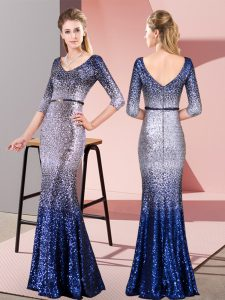 Cute Multi-color Mermaid V-neck 3 4 Length Sleeve Sequined Floor Length Zipper Belt Homecoming Dress
