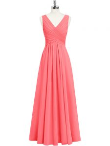 Floor Length Watermelon Red Evening Dress Chiffon Sleeveless Ruching