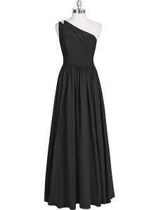 Black A-line Chiffon One Shoulder Sleeveless Ruching Floor Length Zipper Prom Dress