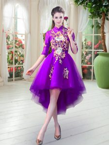 Tulle High-neck Half Sleeves Zipper Appliques Homecoming Dress in Purple