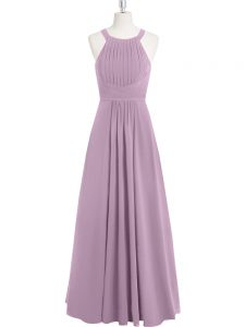 Clearance Sleeveless Floor Length Ruching Zipper Prom Dresses with Purple