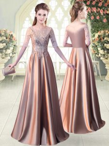 Pretty Elastic Woven Satin Scoop Half Sleeves Zipper Sequins Homecoming Dress in Pink