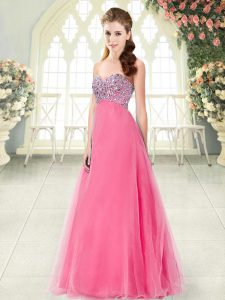 Sleeveless Floor Length Beading Lace Up Homecoming Dress with Hot Pink