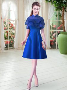 Enchanting Royal Blue Prom Evening Gown Prom with Ruffled Layers High-neck Cap Sleeves Lace Up