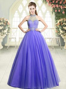 Ideal Tulle Halter Top Sleeveless Zipper Beading Prom Gown in Lavender