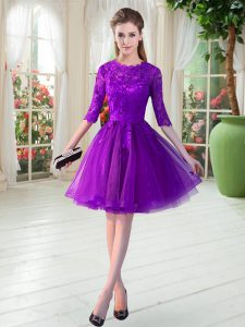 Customized Knee Length Purple Evening Dress Tulle Half Sleeves Lace