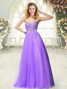 Fashionable A-line Dress for Prom Lavender Sweetheart Tulle Sleeveless Floor Length Zipper