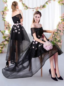 High Low Black Wedding Party Dress Off The Shoulder Short Sleeves