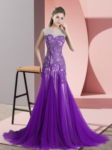 Smart Purple Prom Evening Gown Prom and Party and Military Ball with Appliques Scoop Sleeveless Sweep Train Backless