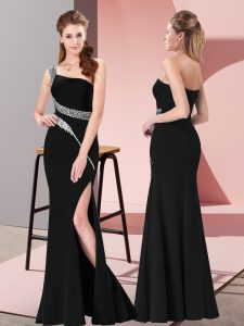 Traditional Satin Sleeveless Floor Length Evening Dress and Beading