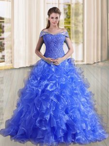 Blue Quinceanera Gowns Military Ball and Sweet 16 and Quinceanera with Beading and Lace and Ruffles Off The Shoulder Sleeveless Sweep Train Lace Up