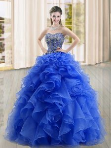 Blue Organza Lace Up Sweetheart Sleeveless Floor Length 15th Birthday Dress Beading and Ruffles