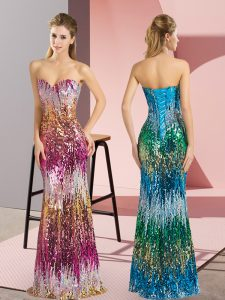 Unique Floor Length Column/Sheath Sleeveless Purple and Multi-color Dress for Prom Lace Up