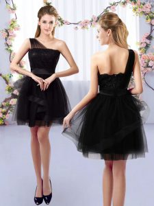 Beautiful Black A-line One Shoulder Sleeveless Tulle Mini Length Side Zipper Lace Quinceanera Court of Honor Dress