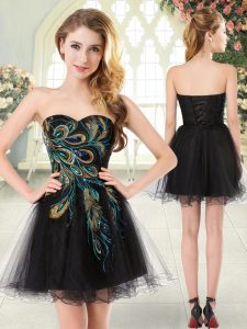 Hot Selling Black Sweetheart Lace Up Beading and Appliques Prom Gown Sleeveless