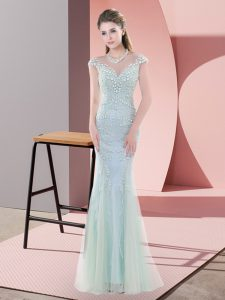Blue Tulle Zipper Evening Dress Cap Sleeves Floor Length Beading