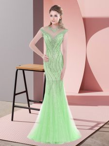 Cap Sleeves Tulle Sweep Train Zipper Prom Evening Gown in Apple Green with Beading