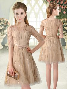 Tulle Scoop Half Sleeves Zipper Sequins Homecoming Dress in Champagne