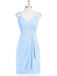 Light Blue Dress for Prom Prom and Party and Military Ball with Appliques and Ruching V-neck Cap Sleeves Zipper